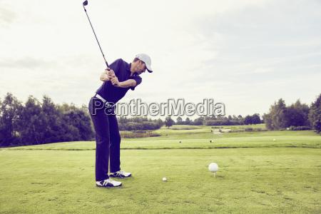 golfer playing golf on course korschenbroich