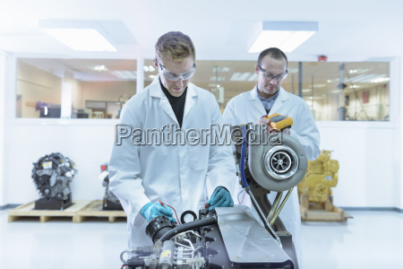 scientists working in turbo charger automotive