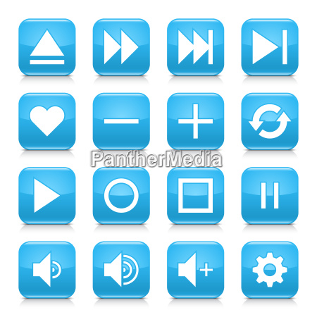 blue media sign rounded square icon