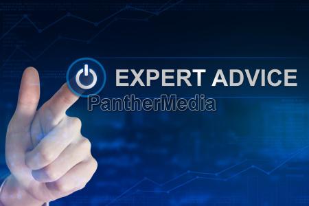 business hand clicking expert advice button