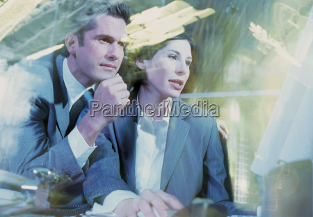 business couple at computer