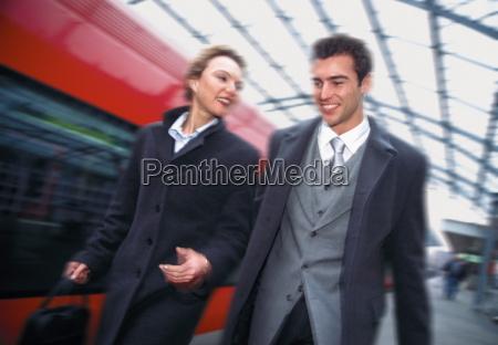 business couple on platform