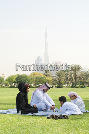 a family sat in a park