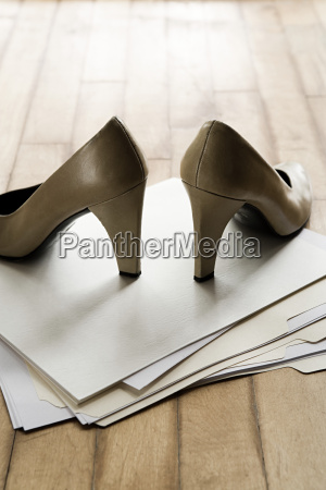 high heeled shoes on top of