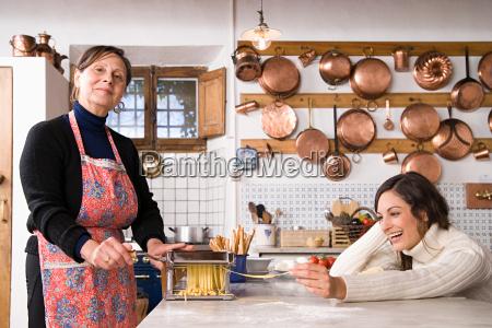 italian women making pasta