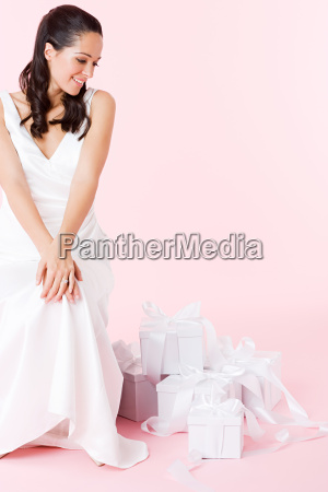bride looking at wedding gifts