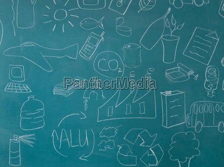 recycling illustrationen auf tafel