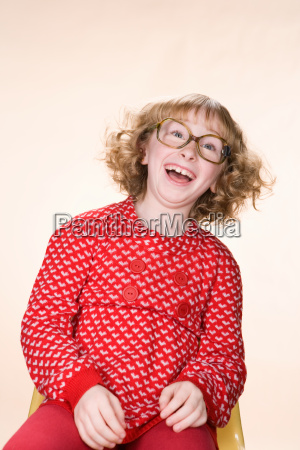a geeky girl laughing