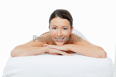 young woman on massage table