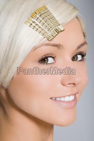 portrait of a woman wearing hair