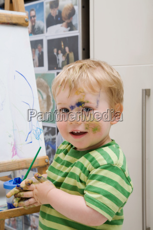 little, boy, with, paint - 18624350
