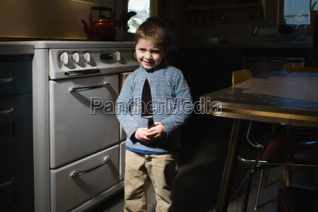little boy with knife