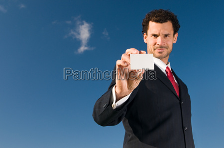 businessman with business card