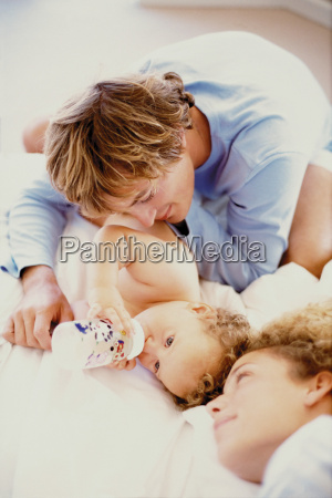 young couple with baby