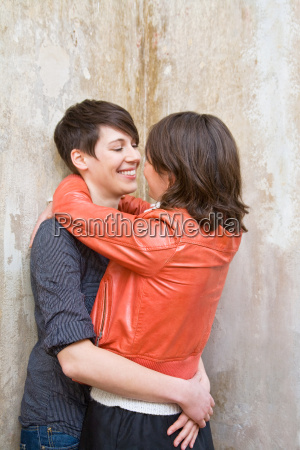 a lesbian couple hugging