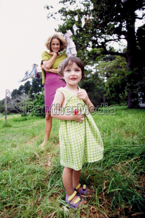 little girl with mother in the