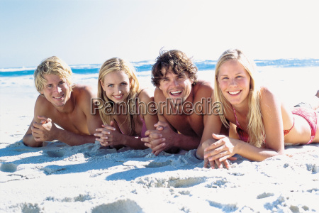 group of friends on the beach