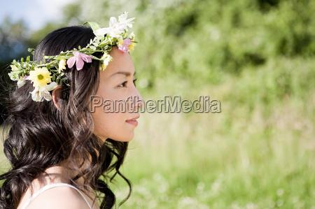 woman wearing a flower headdress
