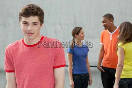 young man and friends