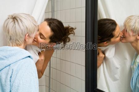 a lesbian couple kissing