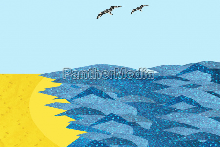 two birds flying over sea and