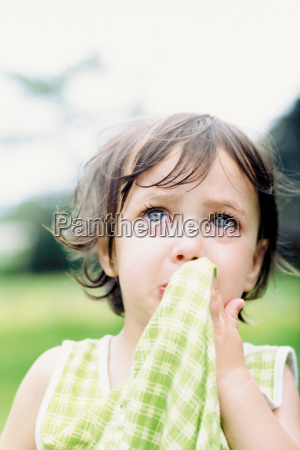 portrait of a little girl crying