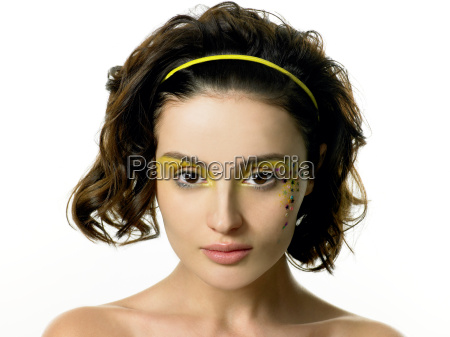 young woman with star decorations on
