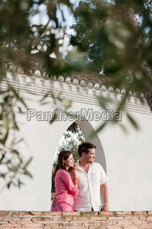 young couple looking at view on