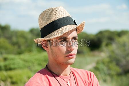 teenage boy wearing hat portrait