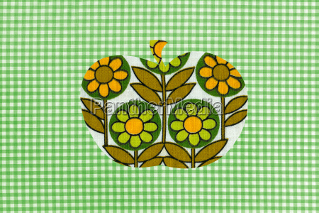 floral apple on green gingham background