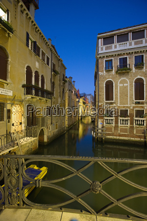 canal and bridge at night venice