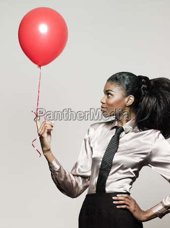 geschäftsfrau, hält, ballon - 18663214