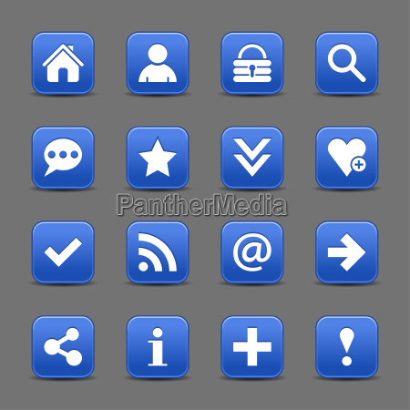 blue satin icon web button with