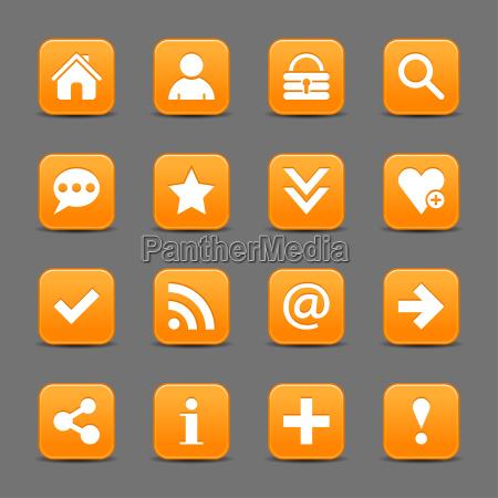 orange satin symbol web schaltflaeche mit