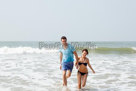 couple having fun in the sea