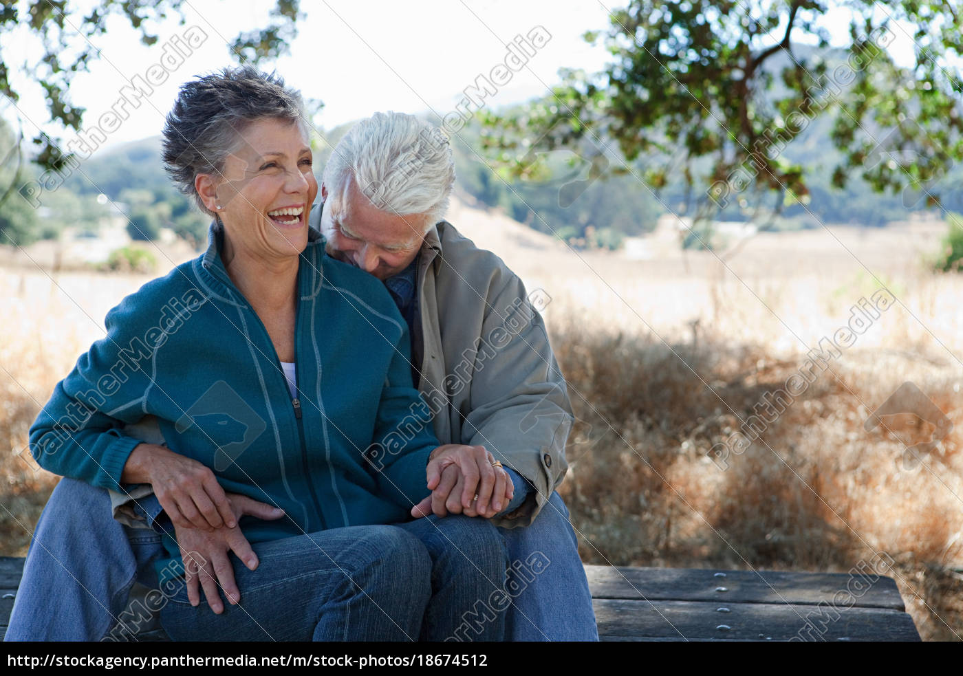 glückliches, paar, sitzt, auf, picknicktisch - 18674512