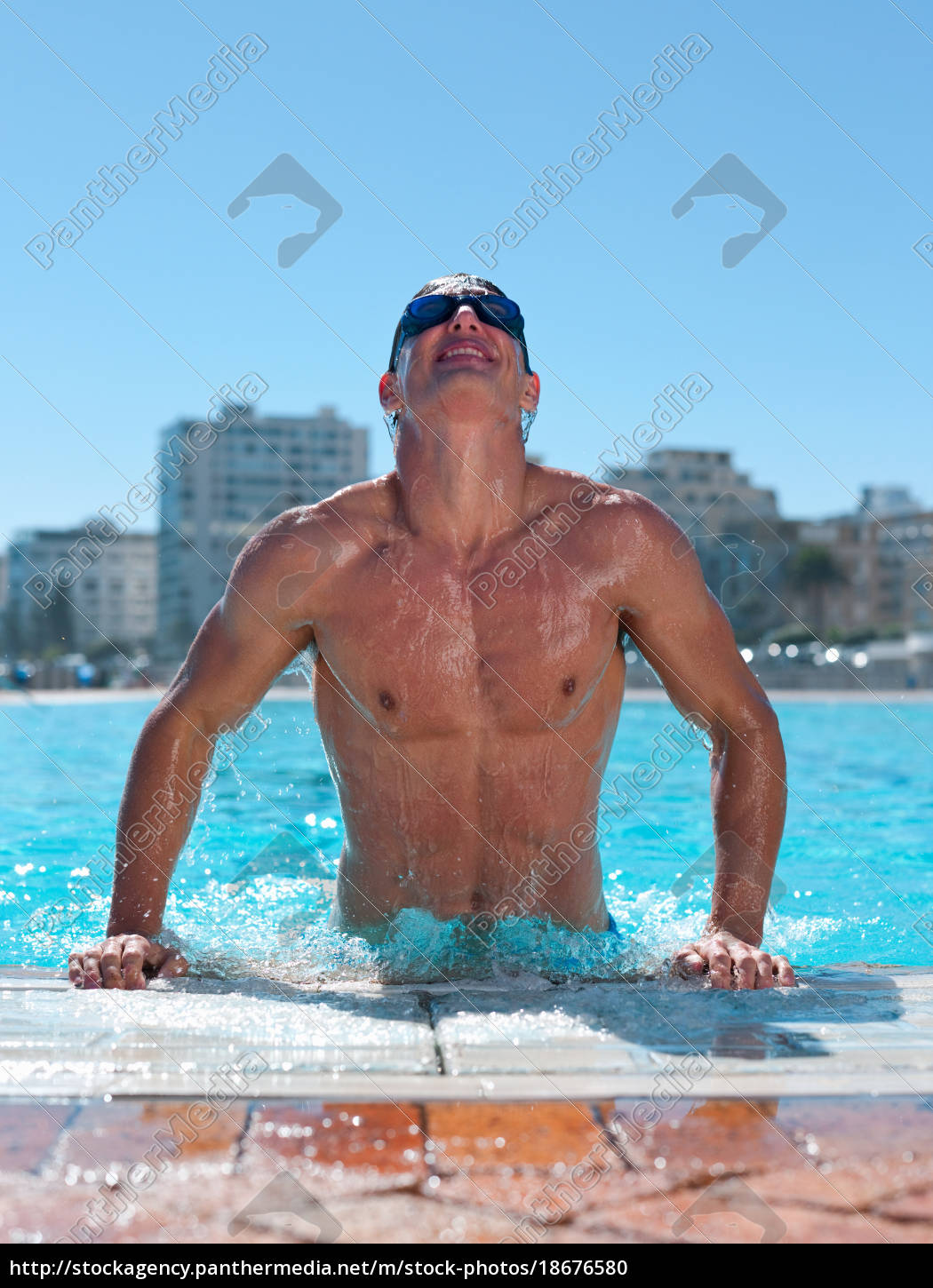 young, man, exiting, swimming, pool - 18676580