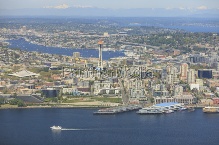 aerial view of seattle waterfront lake