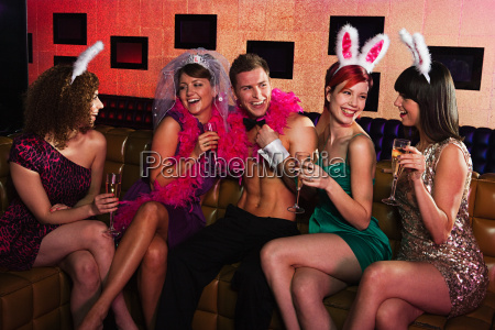 young women on hen night with