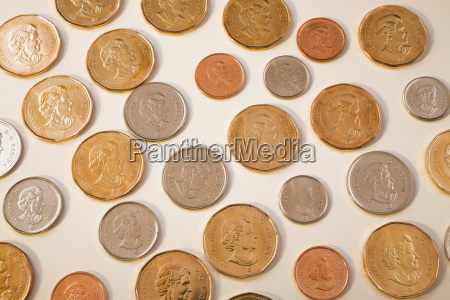 selection of canadian coins on white