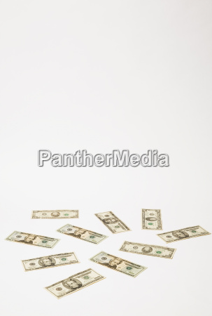 20 dollar banknotes on white background