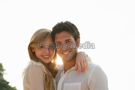 young couple on vacation portrait