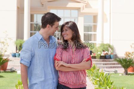 happy couple in garden