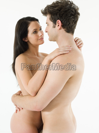 nude couple embracing