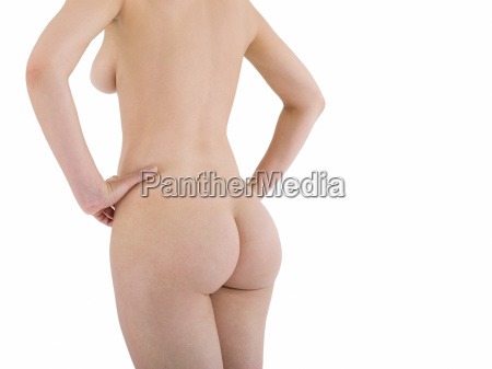 nude young woman rear view