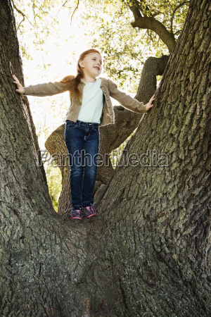 portrait of girl gazing from tree