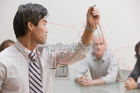 man drawing diagram on glass
