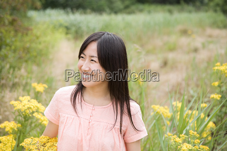happy woman in a field