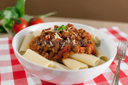 bowl of pasta on table