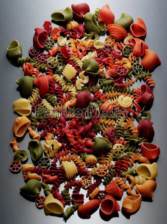 still life selection of dried pasta